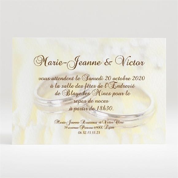 Carton d'invitation mariage Alliances réf.N120132