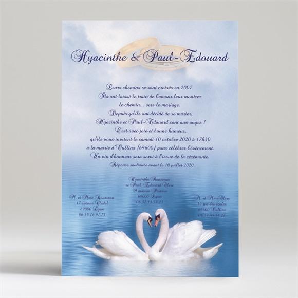 Faire-part mariage Deux cygnes charmants réf.N24051