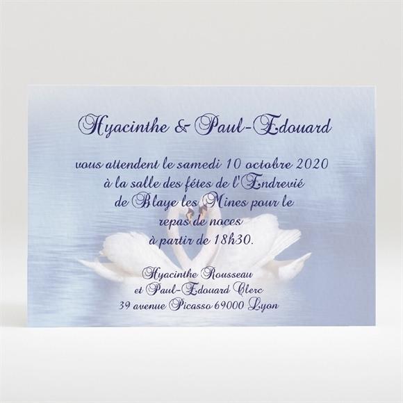 Carton d'invitation mariage Deux cygnes charmants réf.N120134
