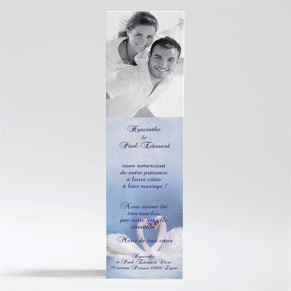 Remerciement mariage Deux cygnes charmants réf.N20090