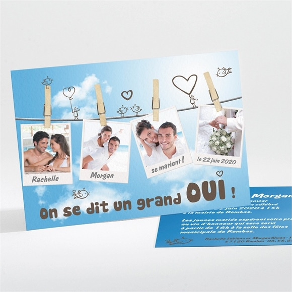 Faire-part mariage le fil à linge mariage réf.N11120