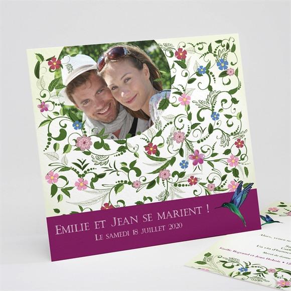 Faire-part mariage Champêtre violet réf.N31116
