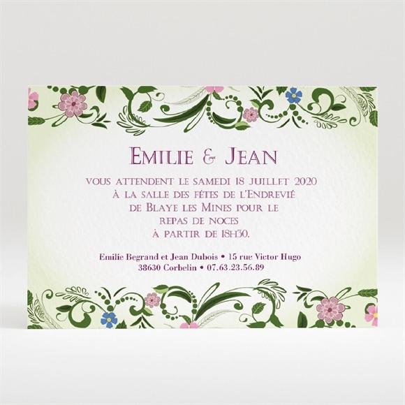 Carton d'invitation mariage Champêtre violet réf.N120135