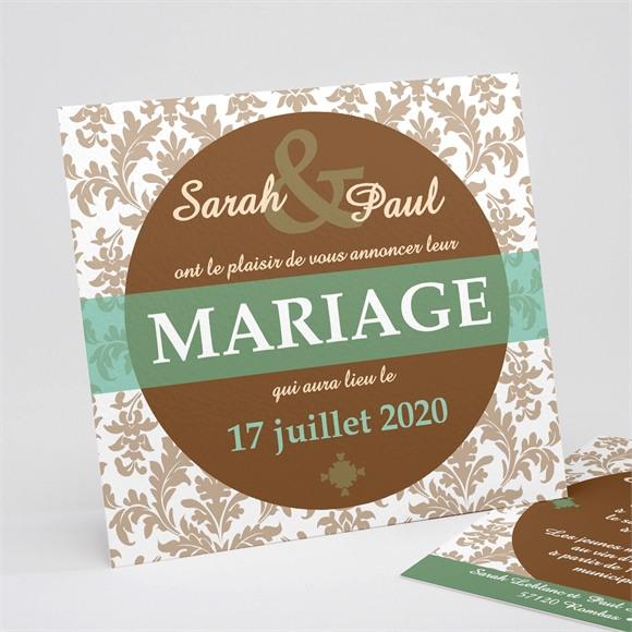 Faire-part mariage Carte marron et verte réf.N31118