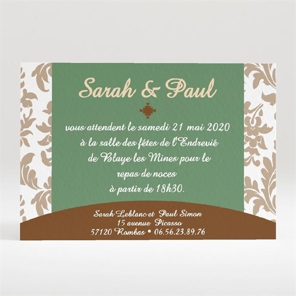Carton d'invitation mariage Carte marron et verte réf.N120144