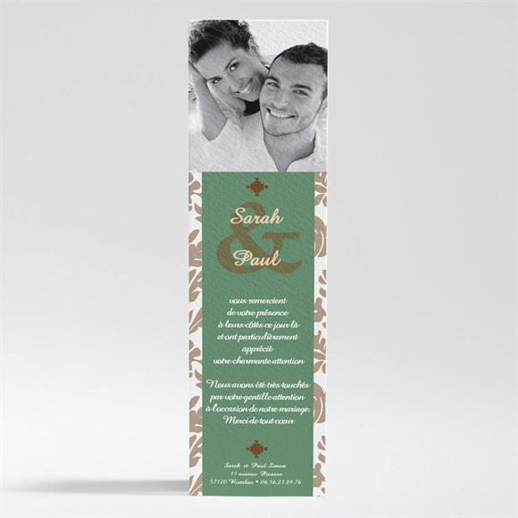 Remerciement mariage Carte marron et verte réf.N20092