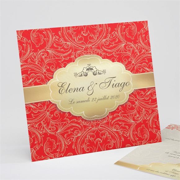 Faire-part mariage Baroque rouge et or réf.N31117