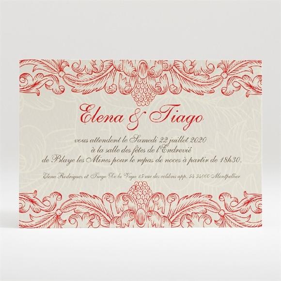 Carton d'invitation mariage Baroque rouge et or réf.N120145