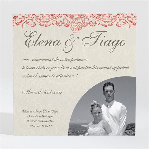 Remerciement mariage Baroque rouge et or réf.N30016