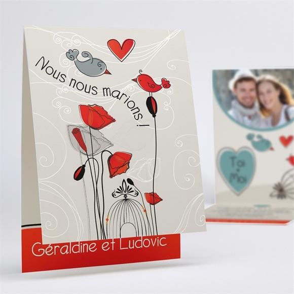 Faire-part mariage Fleurs rouges et grises réf.N50118