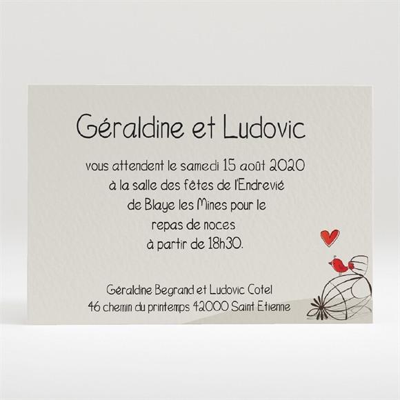 Carton d'invitation mariage Fleurs rouges et grises réf.N120146
