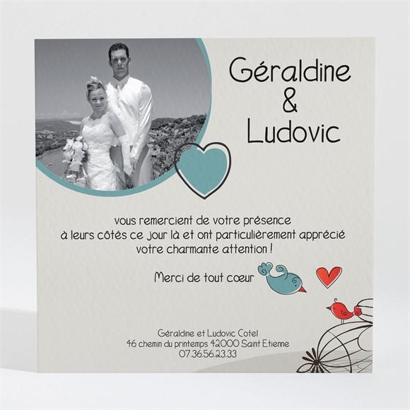 Remerciement mariage Fleurs rouges et grises réf.N30017