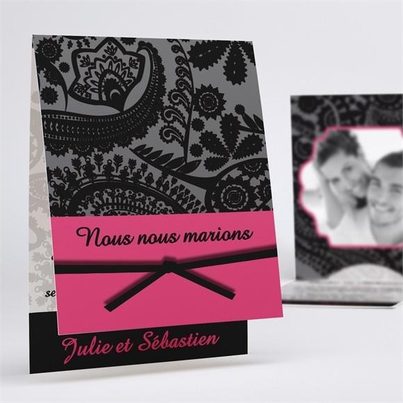 Faire-part mariage Cachemire noir et gris réf.N50119