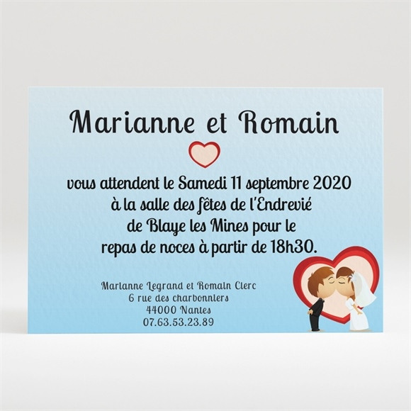 Carton d'invitation mariage Illustrations mariés comiques réf.N120151