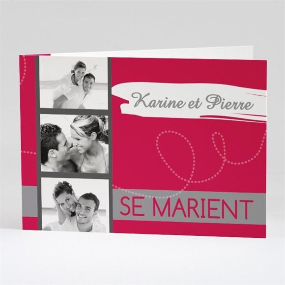 Faire-part mariage Framboise et gris photo réf.N42108