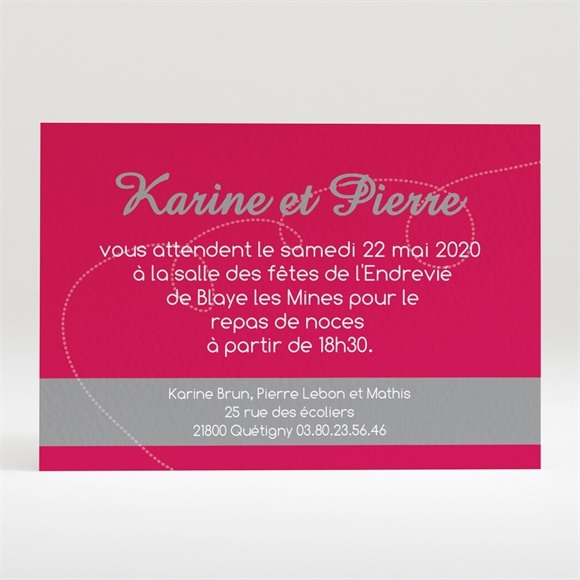 Carton d'invitation mariage Framboise et gris photo réf.N120153