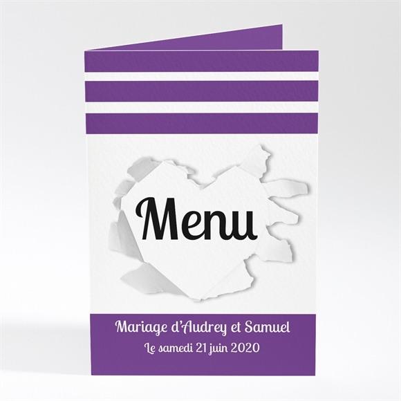 Menu mariage Jolies rayures violettes réf.N401109