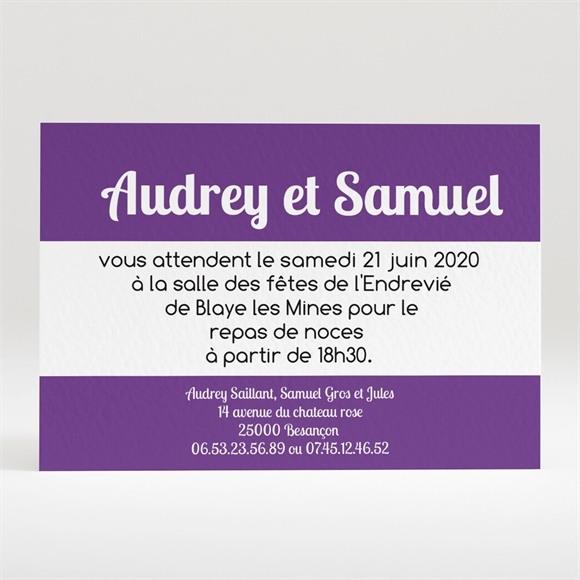 Carton d'invitation mariage Jolies rayures violettes réf.N120154