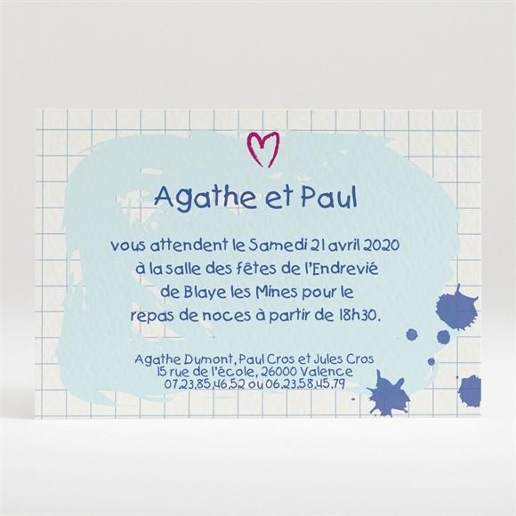 Carton d'invitation mariage Carnet d'écolier enfant réf.N120160