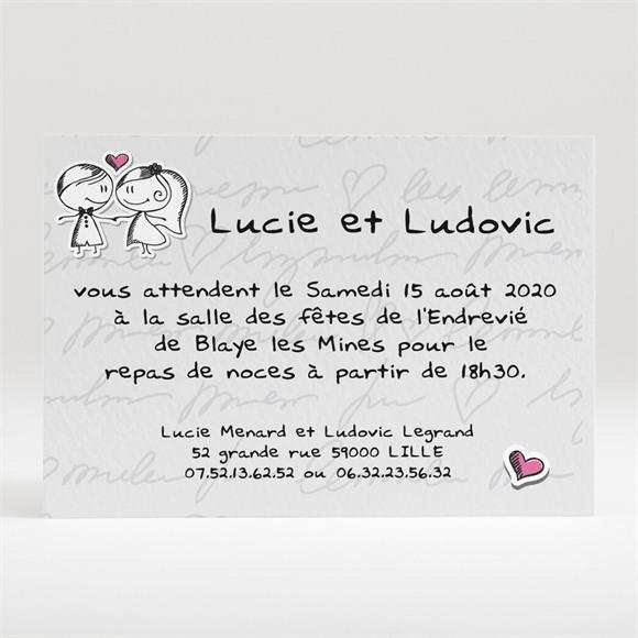 Carton d'invitation mariage Amoureux illustrés réf.N120152