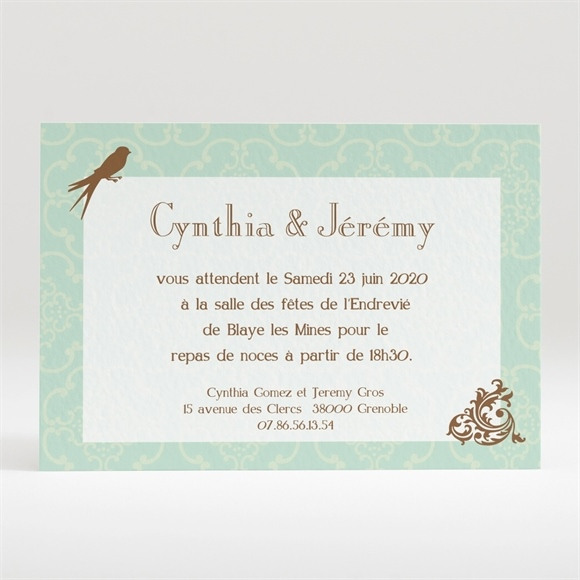 Carton d'invitation mariage Mariage baroque et fantaisie réf.N120159