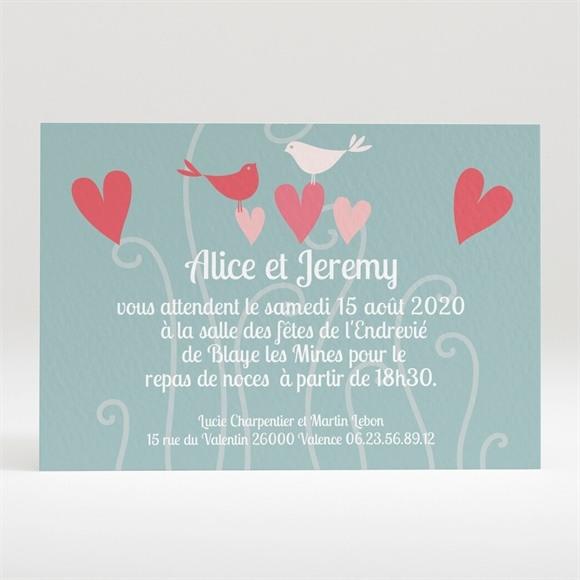 Carton d'invitation mariage Des oiseaux rose et orange réf.N120158