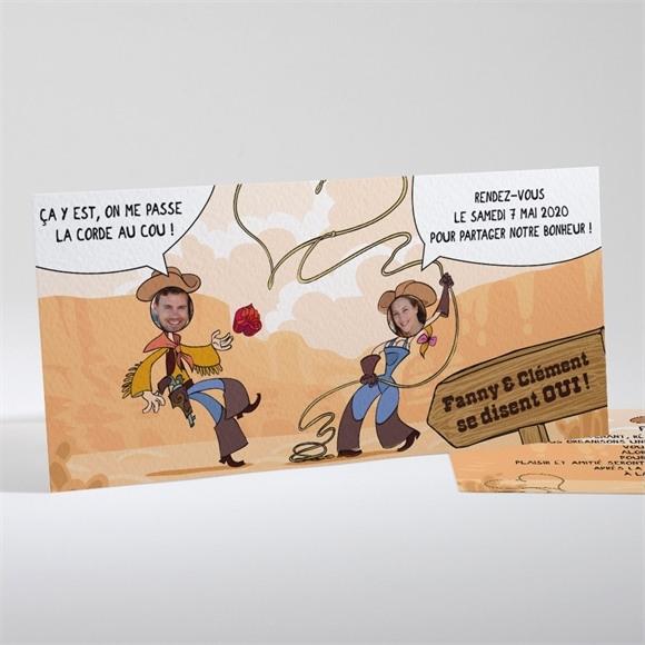 Faire-part mariage Far west humour réf.N13107