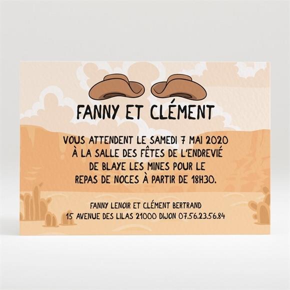 Carton d'invitation mariage Far west humour réf.N120165