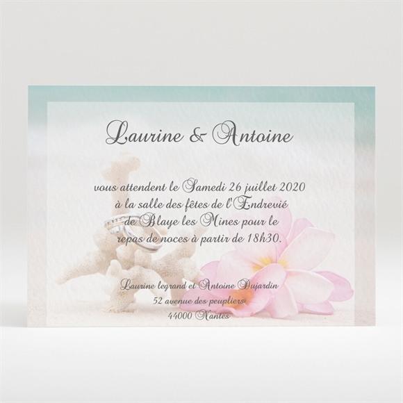 Carton d'invitation mariage Coquillages et crustacés réf.N120167