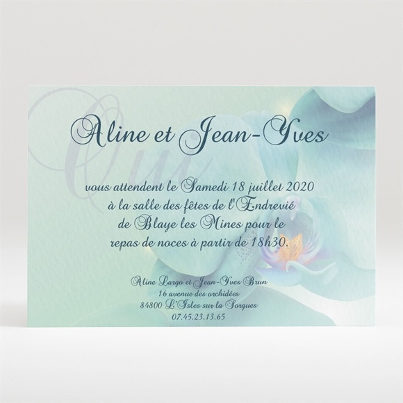Carton d'invitation mariage Orchidées bleues réf.N120168