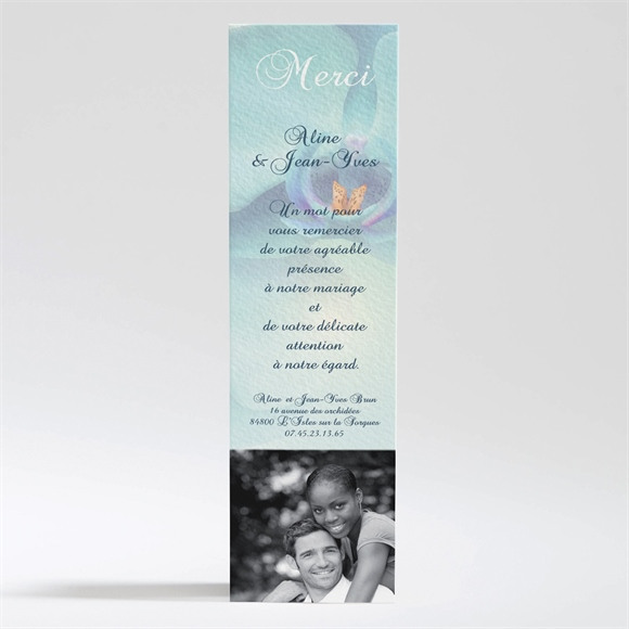 Remerciement mariage Orchidées bleues réf.N200118
