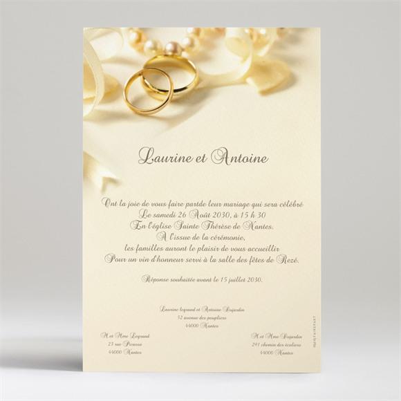 Faire-part mariage Alliances fond crème réf.N24013