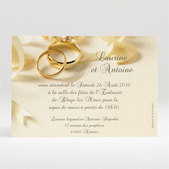 Carton d'invitation mariage Alliances fond crème réf.N120169