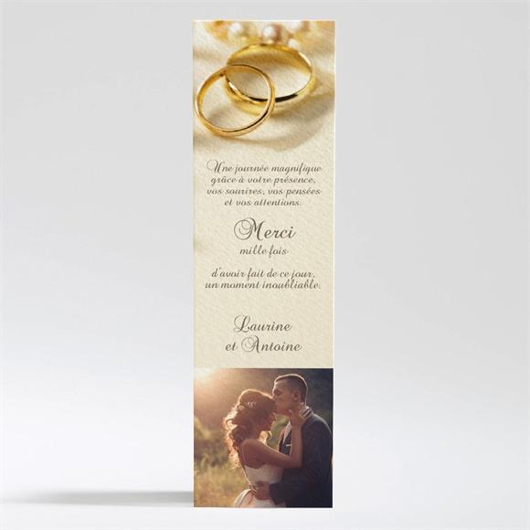 Remerciement mariage Alliances fond crème réf.N200119