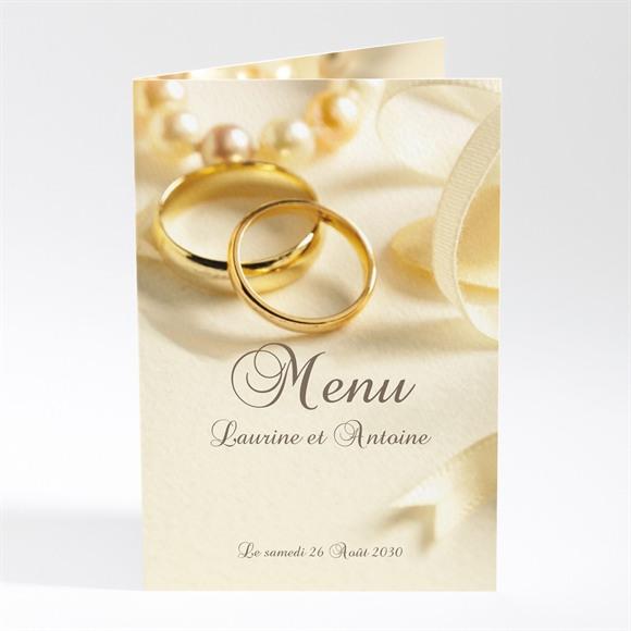Menu mariage Alliances fond crème réf.N401128