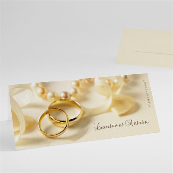 Marque-place mariage Alliances fond crème réf.N44093