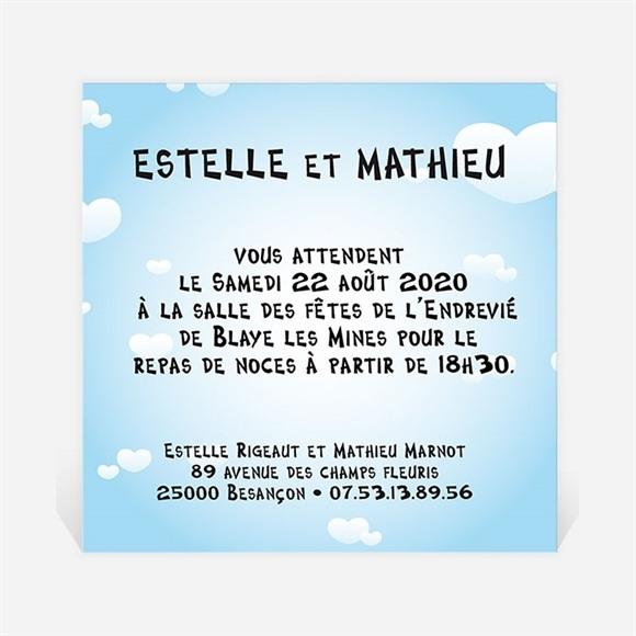 Carton d'invitation mariage En parachute montage photo réf.N30024