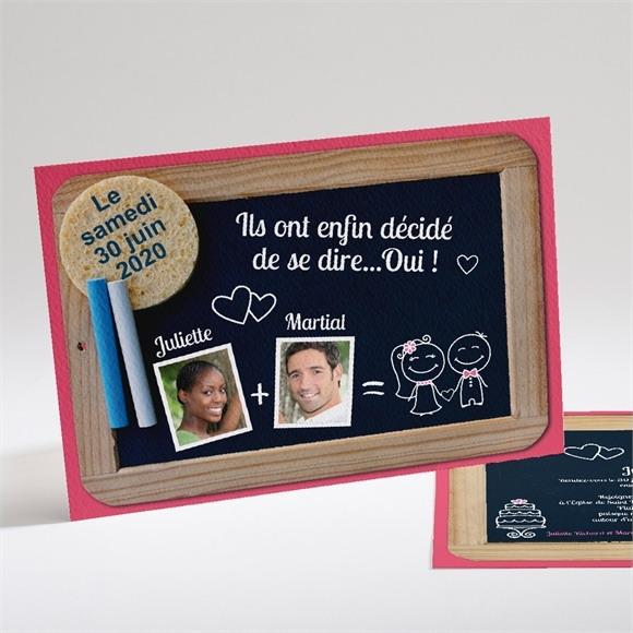 Faire-part mariage Ardoise d'écolier et humour réf.N14103