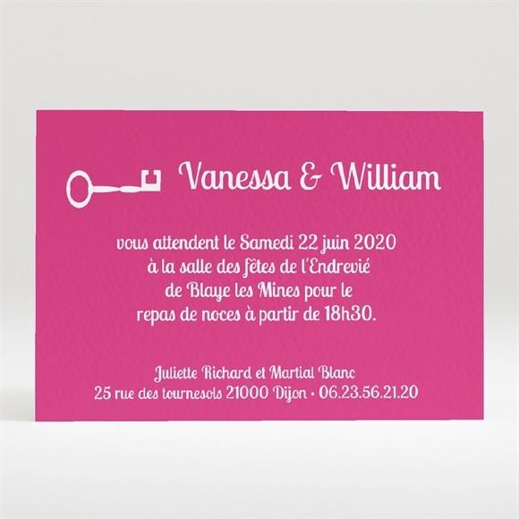 Carton d'invitation mariage La Clé du Bonheur réf.N120172