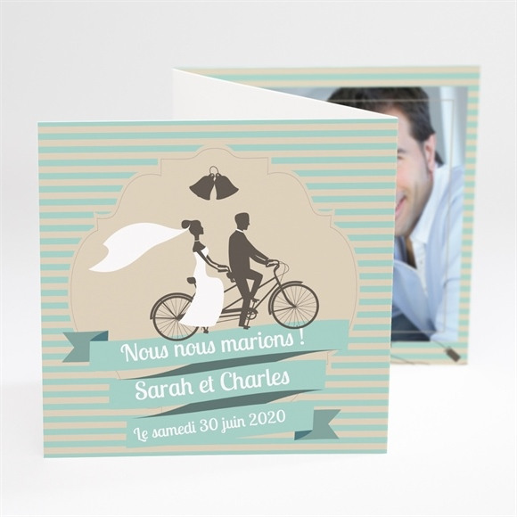 Faire-part mariage Deux mariés à vélo réf.N81006