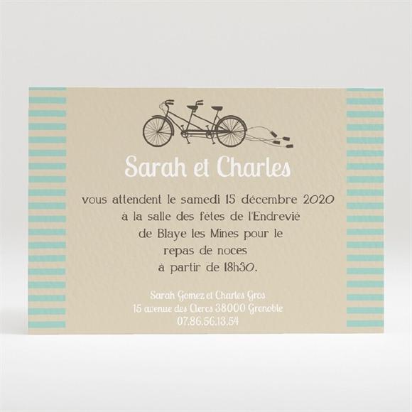 Carton d'invitation mariage Deux mariés à vélo réf.N120180