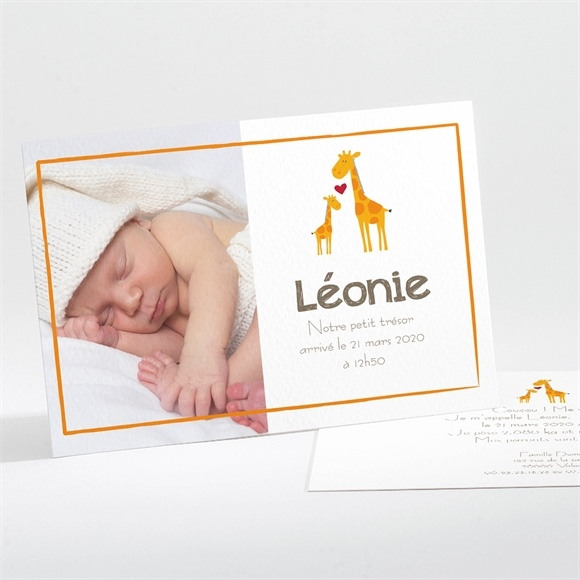 Faire-part naissance Notre petite Girafe réf.N11124