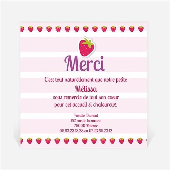 Remerciement naissance Jolie Petite Fraise réf.N30032