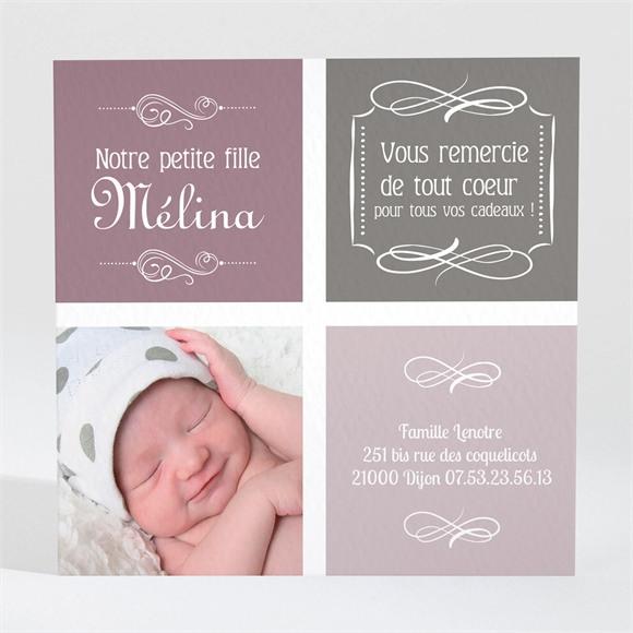 Remerciement naissance Photo et typo retro vintage réf.N30042