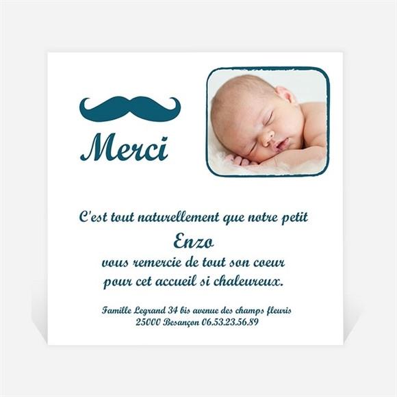 Remerciement naissance Petite Moustache réf.N30034