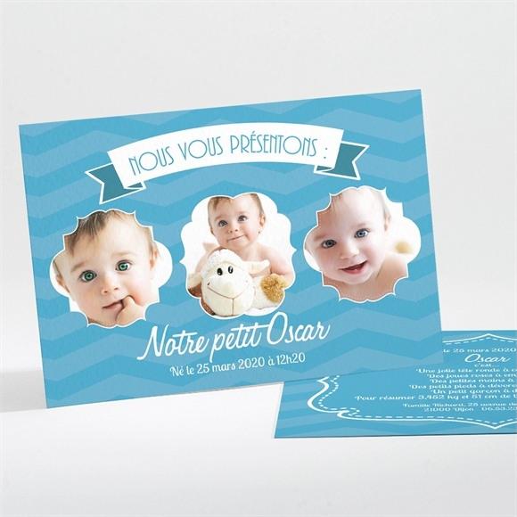 Faire-part naissance Bleu et photos réf.N11126