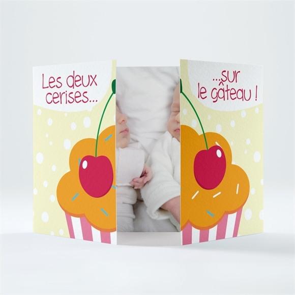 Faire-part naissance Les Deux cerises sur le gâteau réf.N70123