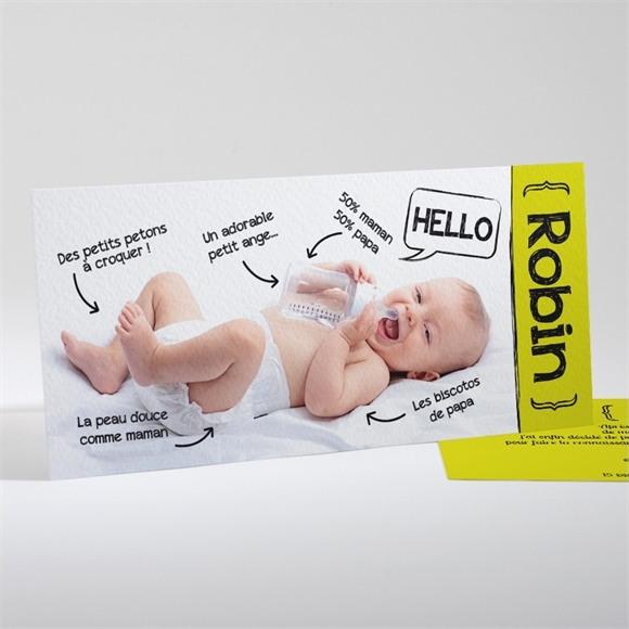 Faire-part naissance Pictogrammes sur photo réf.N13115