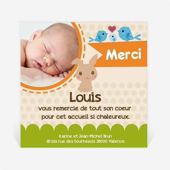 Remerciement naissance Lapin et carotte mignon réf.N30082