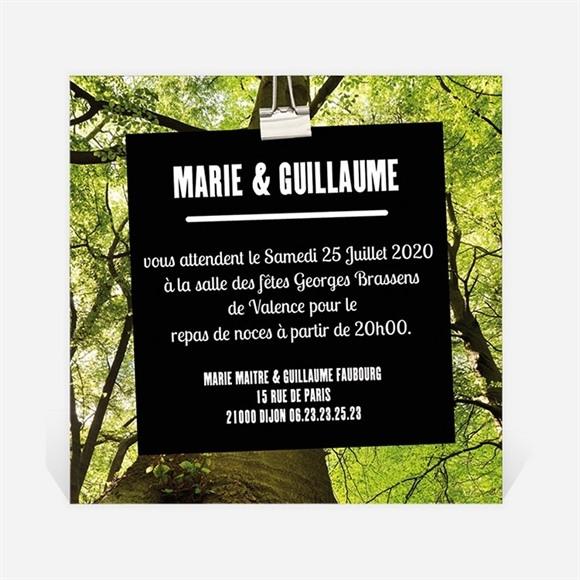 Carton d'invitation mariage Marions nous dans les bois réf.N30090
